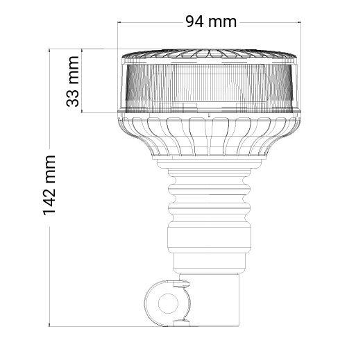 VARNINGSLJUS MINI ROTERANDE/BLIXT LED PLAN-/STÅNGMONTAGE