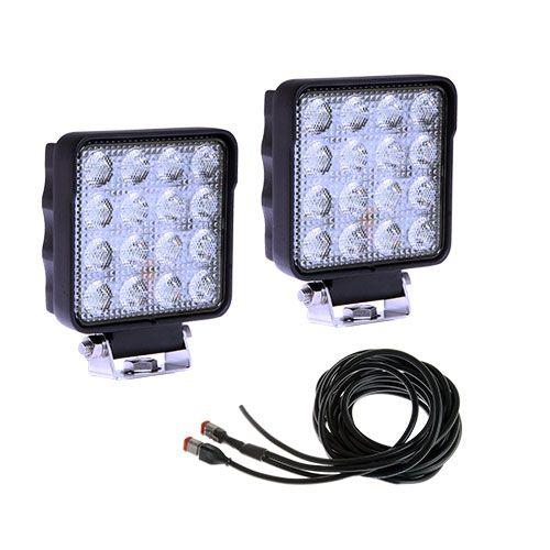 Arbetsbelysnings paket med två lampor med en grenkabel  - även godkänd backlampa
