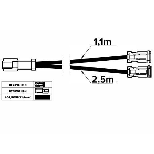 DT-GRENKABEL 2-POL 2 HONOR 1.1M - 1 HANE 2.5M