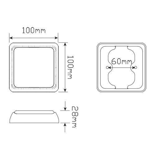 BLINKERS LED ORANGE  12/24V 100X100MM