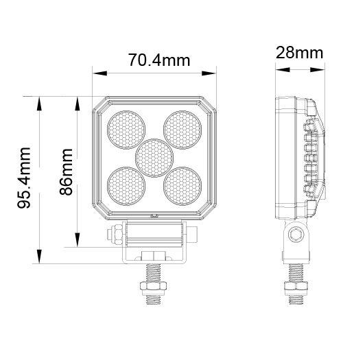 BACKBELYSNING LED  5W R23 12/24V